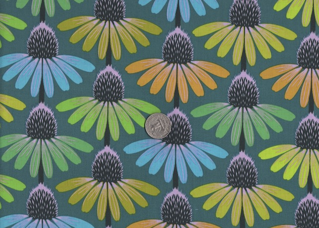 Echinacea green fabric for custom bags at Zoe's Bag Boutique
