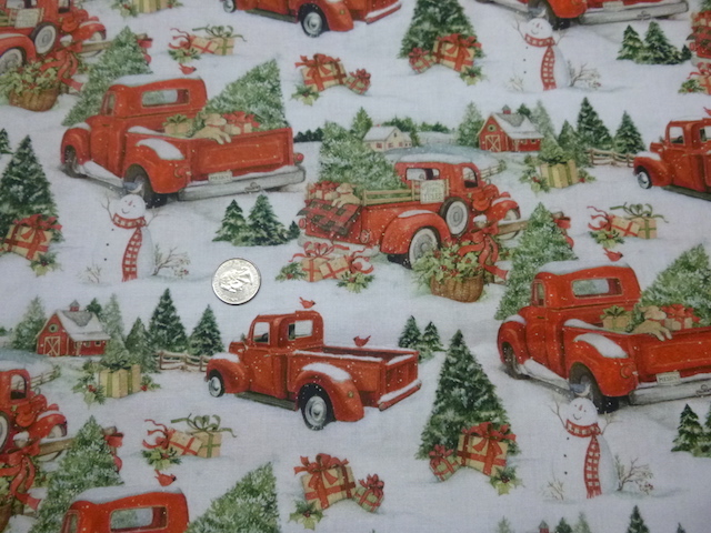Christmas red trucks fabric for custom bags Zoe's Bag Boutique