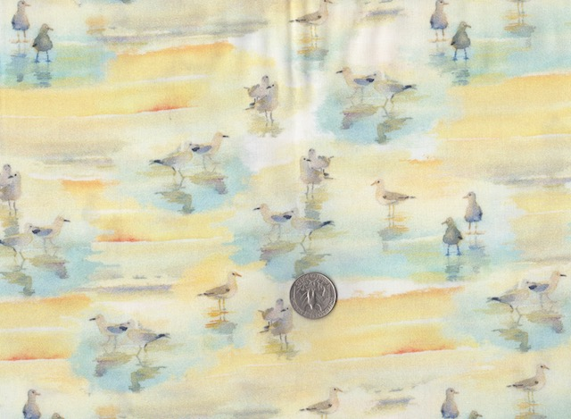 Seagulls on beach fabric for custom bags at Zoe's Bag Boutique