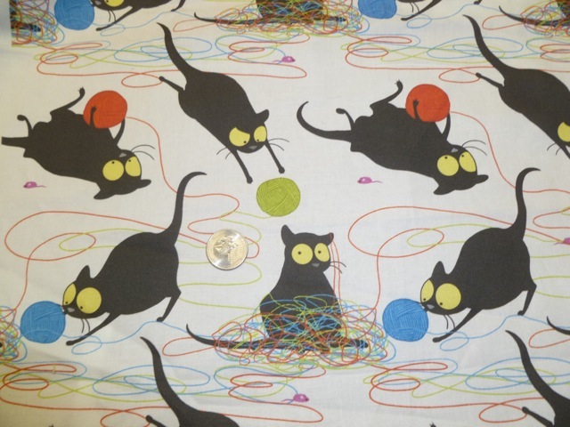 Black cat and yarn fabric for custom knitting crochet bags by Zoe's Bag Boutique