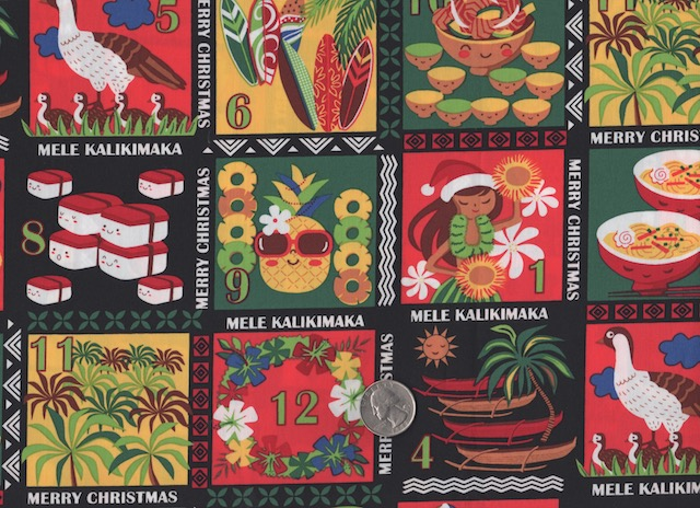 Hawaiian Christmas fabric for custom made bags at Zoe's Bag Boutique