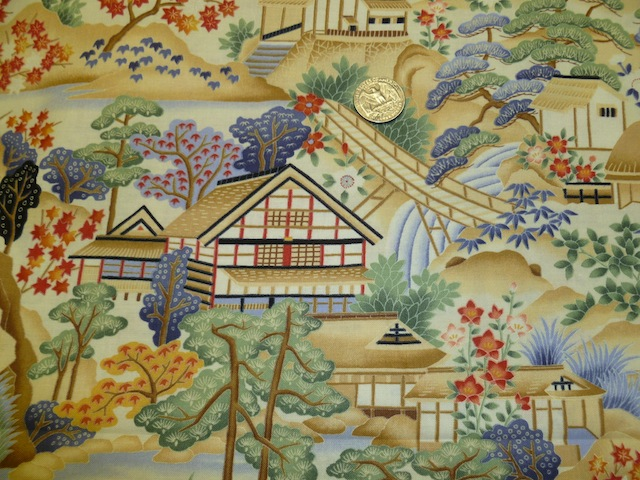 Japanese village fabric for custom bags Zoe's Bag Boutique