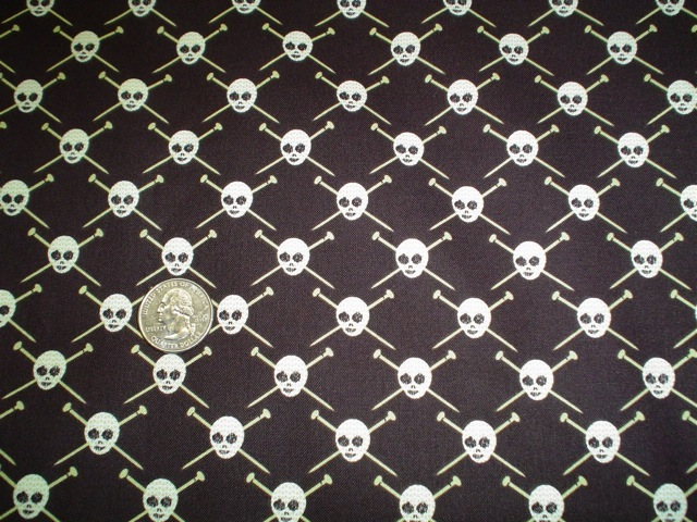 knitting and skulls fabric for custom knitting crochet bags by Zoe's Bag Boutique