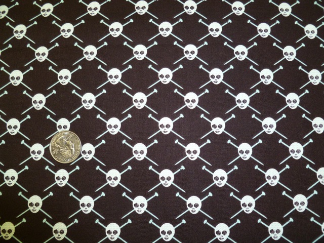 Knitting needles skulls fabric for custom knitting crochet bags by Zoe's Bag Boutique