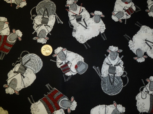 Knitting sheep fabric for custom knitting crochet bags by Zoe's Bag Boutique
