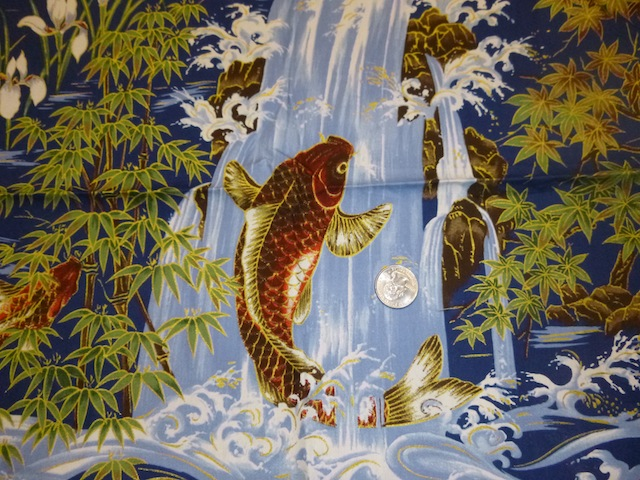 Koi waterfall blue fabric for custom bags Zoe's Bag Boutique