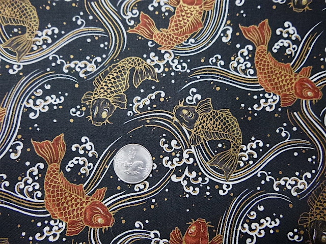 koi on black fabric for custom bags Zoe's Bag Boutique