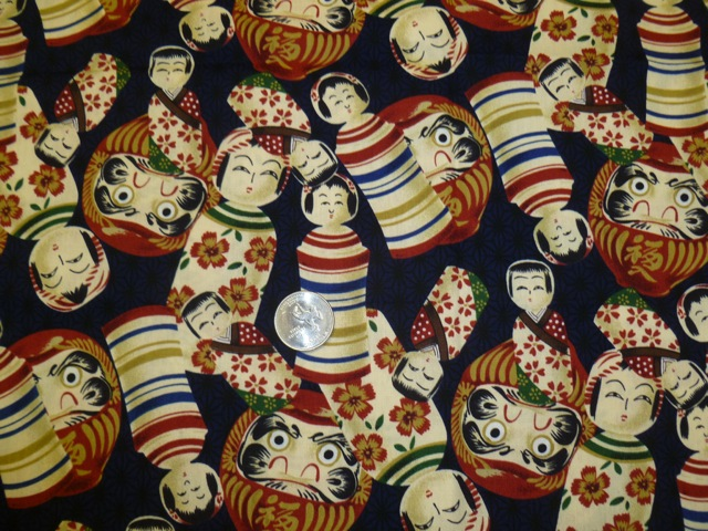Kokechi and daruma fabric for custom bags Zoe's Bag Boutique