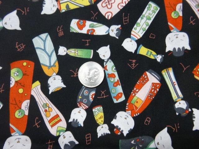 Kokeshi Cats fabric for custom bags Zoe's Bag Boutique