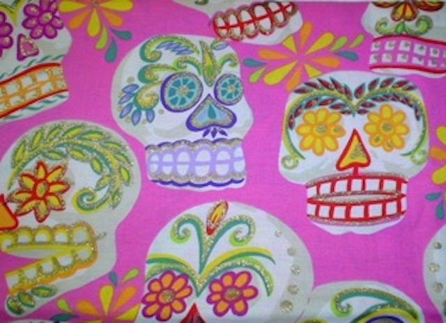 Day of the Dead Sugaer Skulls fabric for custom bags Zoe's Bag Boutique