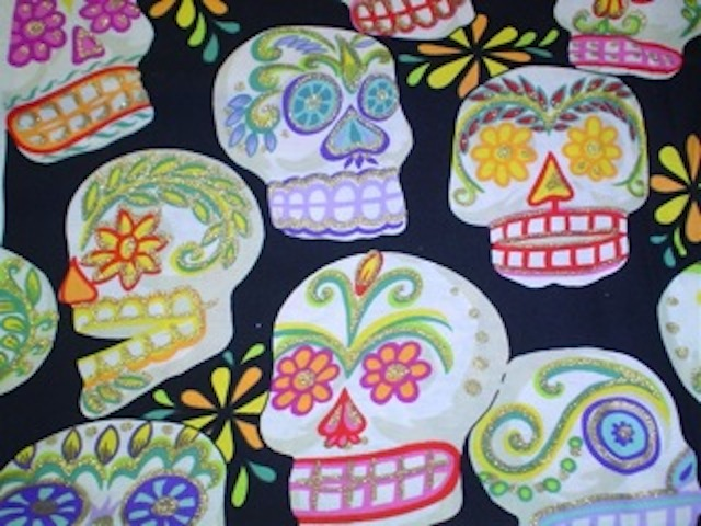 Day of the Dead Sugar Skulls fabric for custom bags Zoe's Bag Boutique