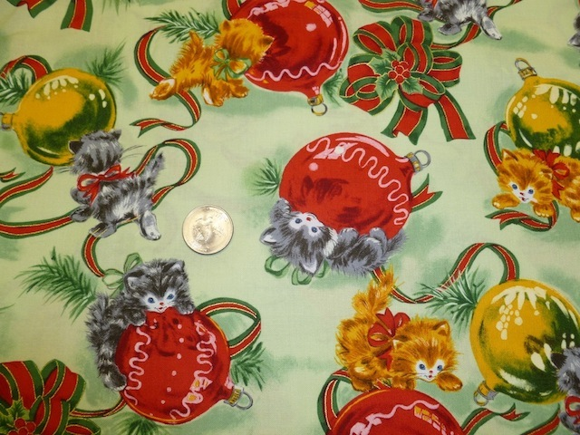 Cute retro kittens Christmas fabric for custom bags Zoe's Bag Boutique