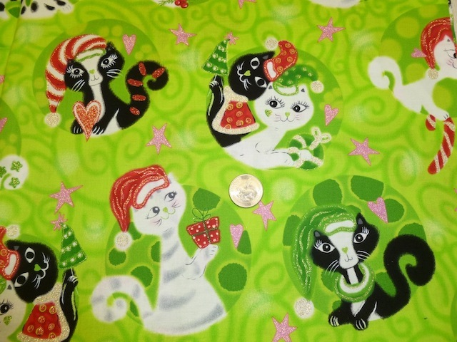 Mod cats Christmas on green fabric for custom bags Zoe's Bag Boutique