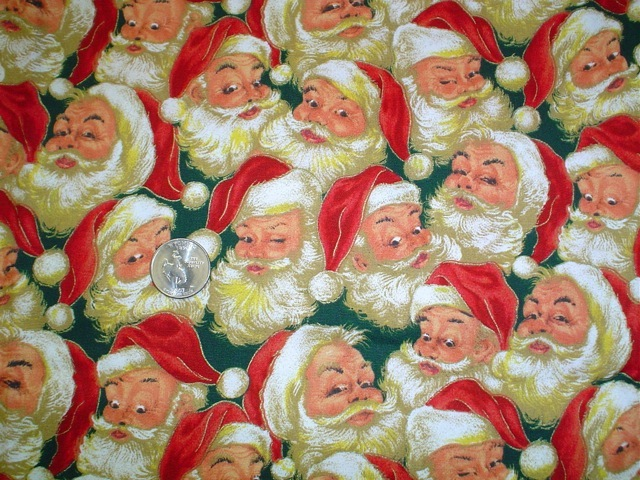 Old time Santa on green fabric for custom bags Zoe's Bag Boutique