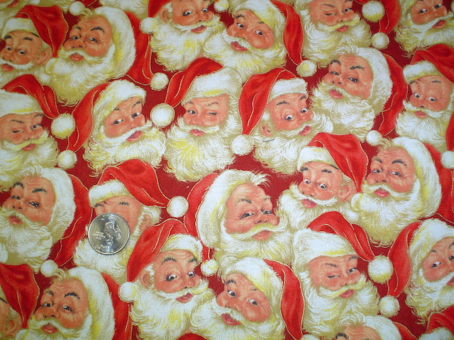 Old time Santa on red fabric for custom bags Zoe's Bag Boutique