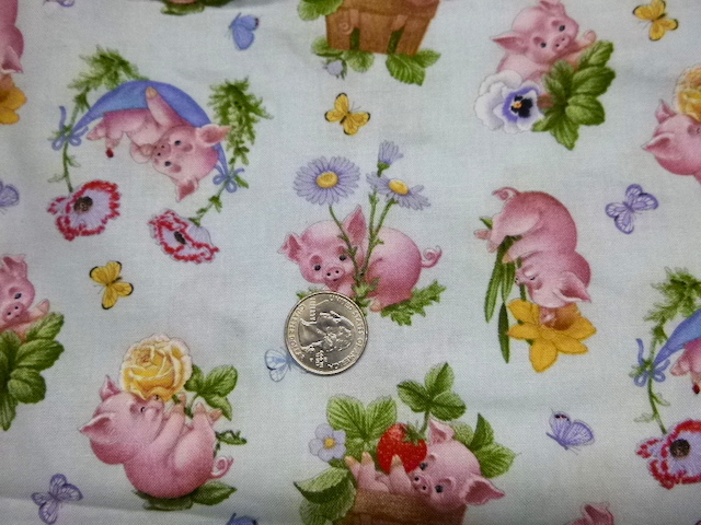 Pigs and flowers fabric for custom bags Zoe's Bag Boutique