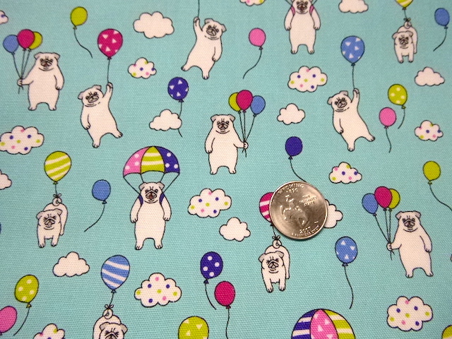 Pugs and Balloons fabric for custom bags Zoe's Bag Boutique