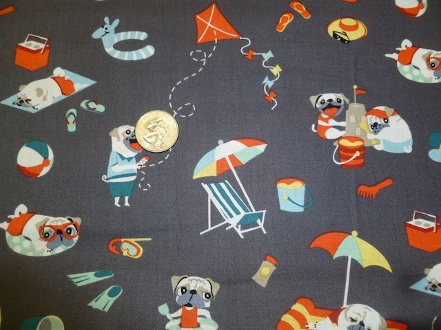 Pugs at the beach fabric for custom bags Zoe's Bag Boutique