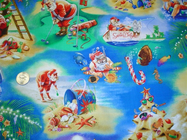 Santa at the beach fabric for custom bags Zoe's Bag Boutique