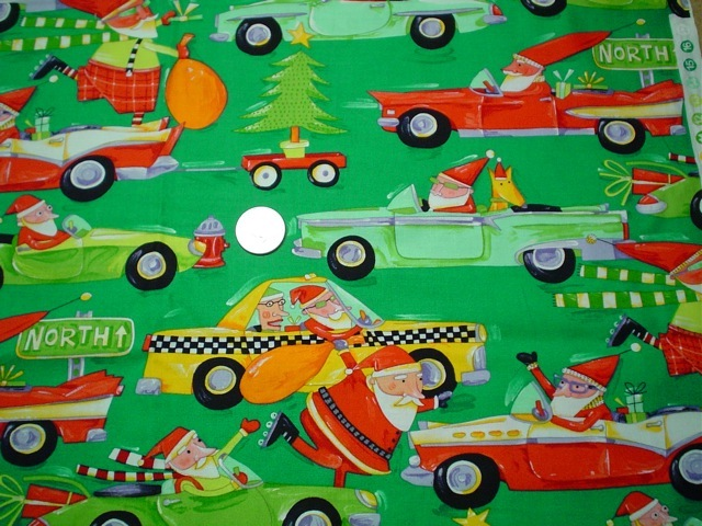 Funny Santa fabric for custom bags Zoe's Bag Boutique