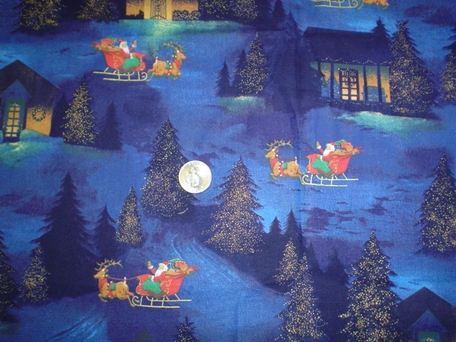Santa's Sleigh fabric for custom bags Zoe's Bag Boutique