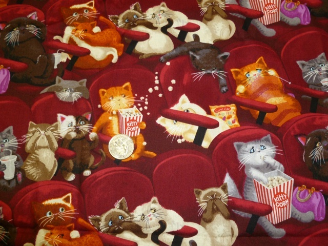 Cats at the movies, Scaredy cats fabric for custom bags Zoe's Bag Boutique