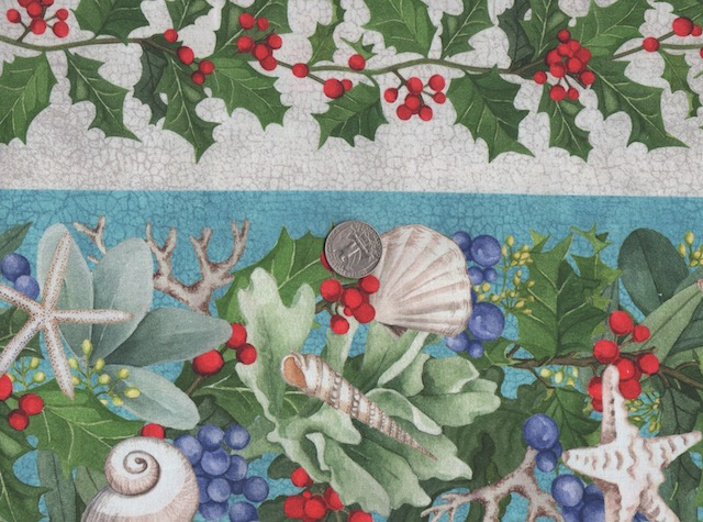 Beach Christmas seashells fabric for custom made bags at Zoe's Bag Boutique