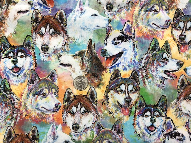 Siberian Husky fabric for custom made bags