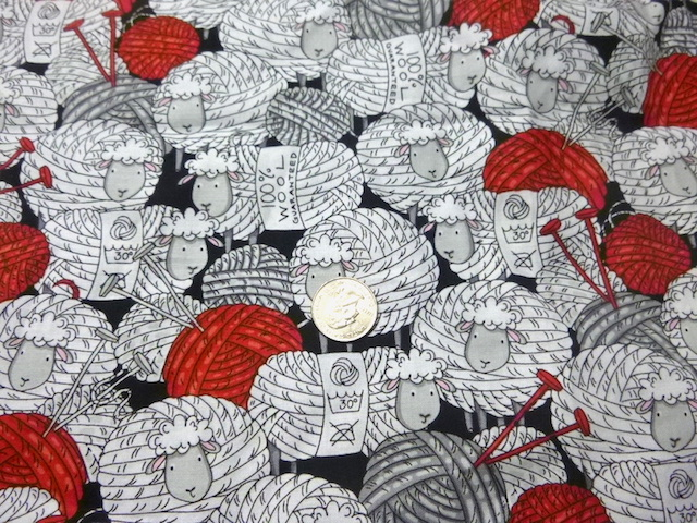 Sheep and yarn fabric for custom knitting crochet bags by Zoe's Bag Boutique
