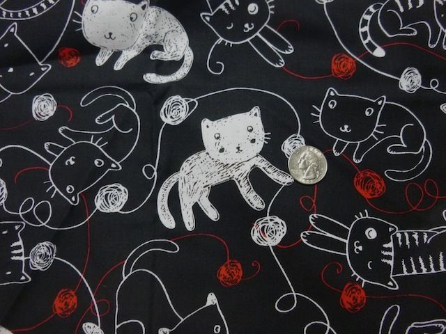 cats and yarn fabric for custom knitting crochet bags by Zoe's Bag Boutique