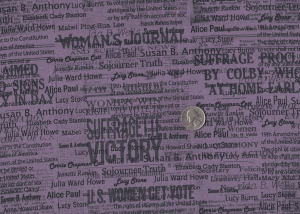Suffragettes fabric for custom bags at Zoe's Bag Boutique