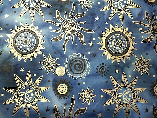 Suns blue batik fabric for custom bags Zoe's Bag Boutique