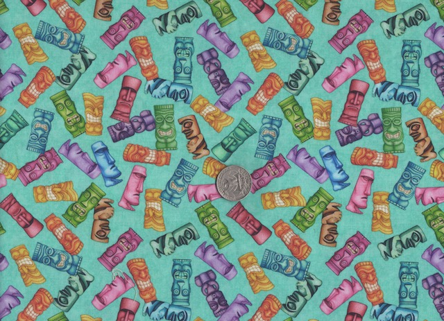 Tiki fabric for custom bags at Zoe's Bag Boutique
