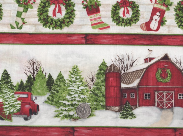 Winter farm fabric for custom made bags at Zoe's Bag Boutique