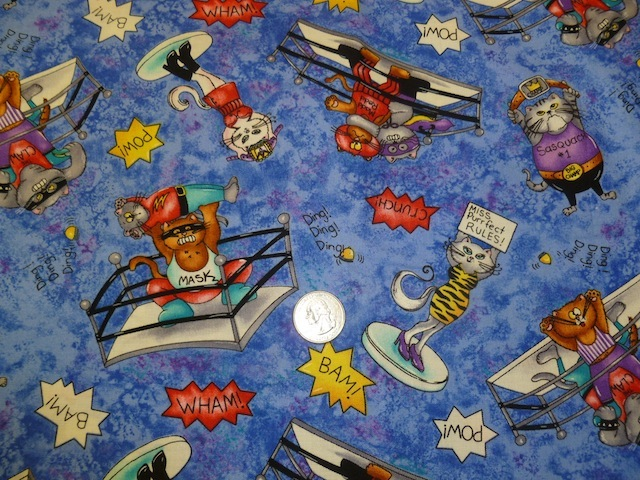 Wrestling cats fabric for custom bags Zoe's Bag Boutique