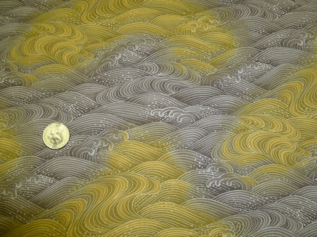 Japanese waves yellow brown fabric for custom bags Zoe's Bag Boutique