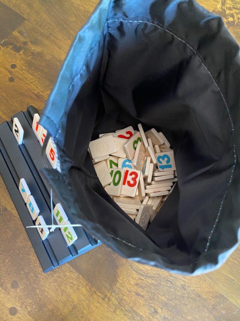 Drawstring bag to hold Rummikub tiles