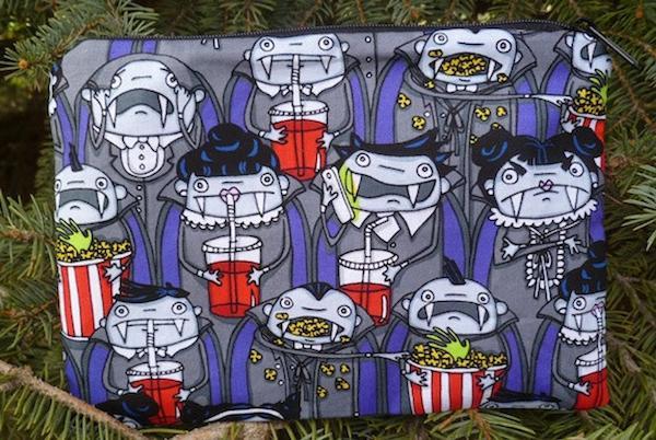 Vampires at the movies zippered bag