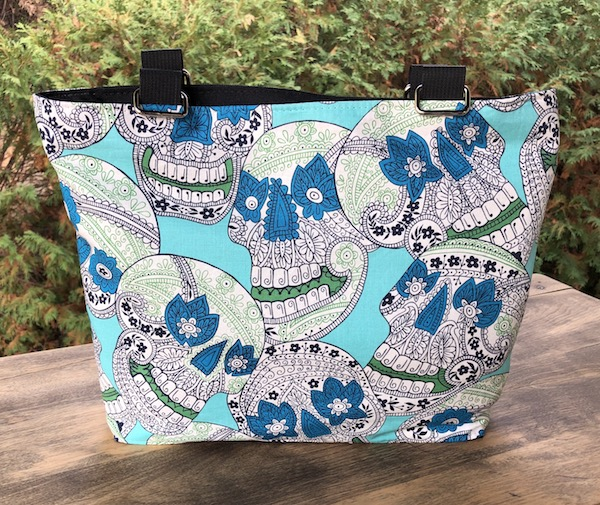 Indigo Sugar Skulls zippered purse